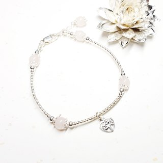 Love Tree Series ~ Pink Crystal Silver Bracelet Rose Quartz