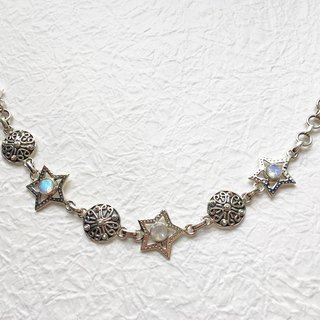 Moonlight stone 925 sterling silver star design bracelet India handmade mosaic production
