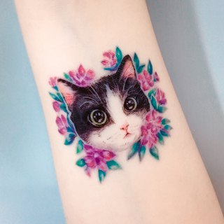 Couple Temporary Tattoo Sticker African Violet Flower Lovely Cute Kitten Cat Art