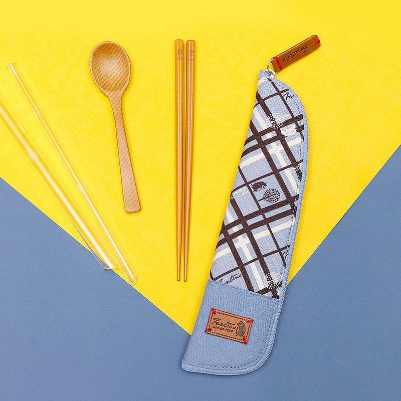 獨創布花 棉麻餐具袋::天空藍:: (格紋街區)環保餐具/交換禮物
