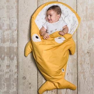 [Spanish] Shark bite a BabyBites cotton baby multi-function sleeping bag - mustard yellow