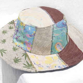 Moroccan wind stitching hand-woven cotton hat woven hat fisherman hat visor straw hat - blue ocean hat