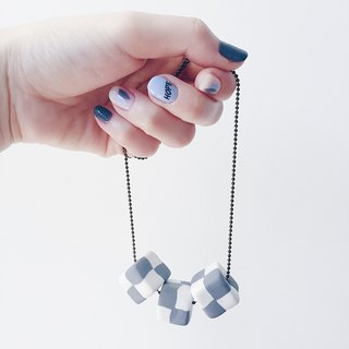 Minimalist Grey White Cubic Necklace