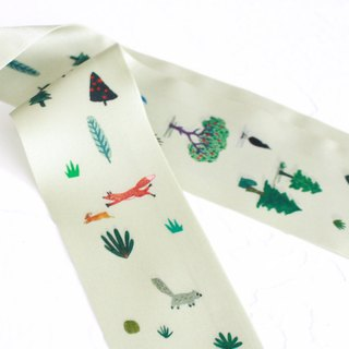 Forest Long Silk Scarf / Green Headband I Story_Forest Daily