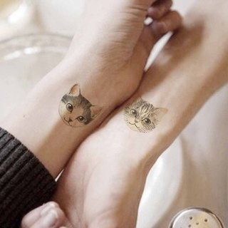 TU tattoo stickers - Cute cat 2 heads tattoos waterproof tattoo Original /t