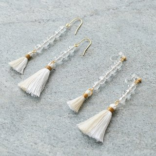 Tassel earrings water drop /clear