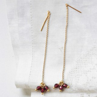 Sweet swing red garnet stone earrings │14kg ear wire