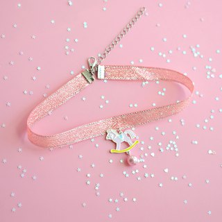 Childhood Little Trojan Pink Girl Heart Necklace Sweet Choker Cute Necklace Gift