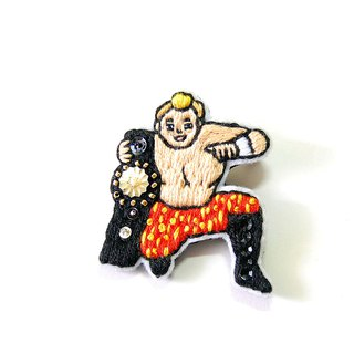 Champion wrestler brooch