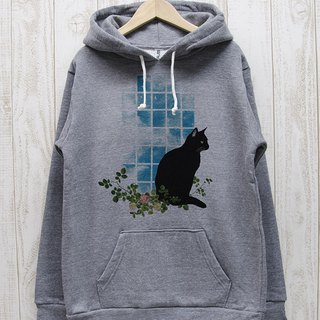 Tucked black cat Parker windowsill NOON (Heather gray) / RPP014-GR