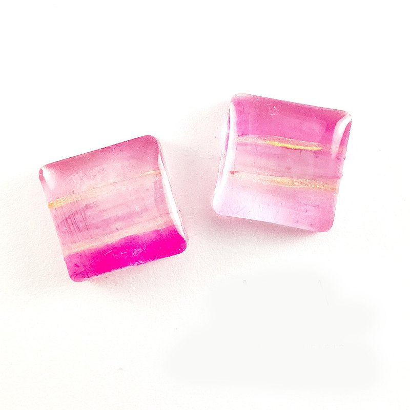日本樹脂水彩果凍感粉色耳環(可改夾)