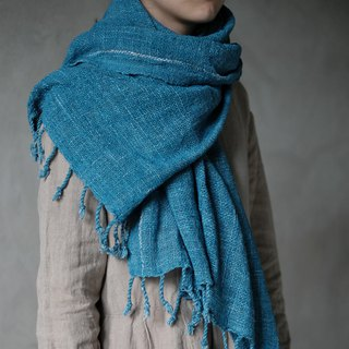 Missing | lake blue natural organic cotton hand-woven cloth tassel scarf plant blue dyed tassel large shawl blanket