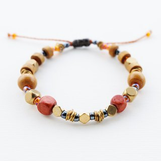 Brown wooden and brass bead string bracelet