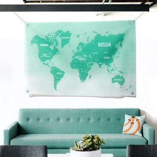 World Map Wall Decoration Fabric Green