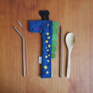 Giraffe hit head tableware environmental protection group (with bamboo utensils 304 stainless steel straw cleaning brush)