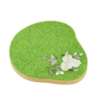 Shibaful Botanical Coaster Grass Island Garden Embroidered Cork Coaster