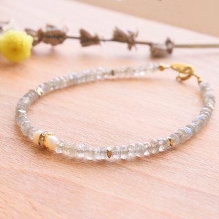 Labradorite pearl crystal brass bracelet 0984(intuition)