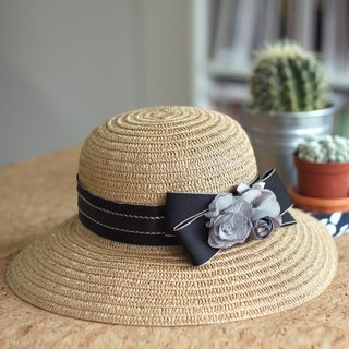 Silk Flower-Embellished Woven Straw Hat
