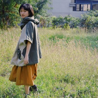 Matcha chiffon / khaki and army green plaid hooded smock