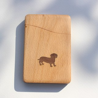 """dog""name-card holder Beech and Walnut"