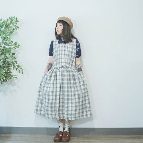 Vintage checked prints grey cotton sleeveless dress