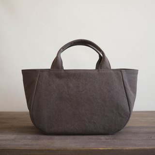 Round tote with lid M Grayish brown