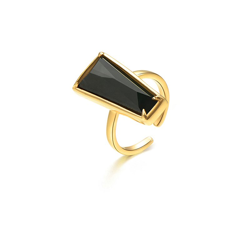 Natural ink jade trapezoid ring
