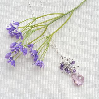 Irregular Purple Drop Crystal Necklace