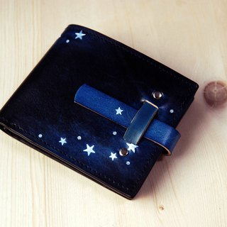 [Father's Day] [Leather Carving Hand Dye Series] [Planting Leather Long Clip] Inserting Star Star Blue Leather Short Clip