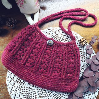 Handmade - wine red rose - wool woven pouch