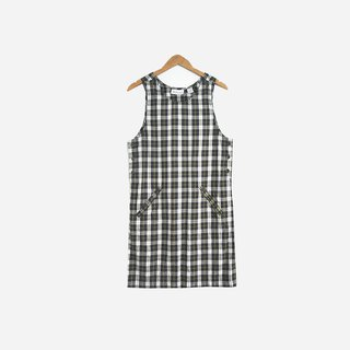 Dislocation Vintage / Green Plaid Double Pocket Sleeveless Dress Dress no.594 vintage