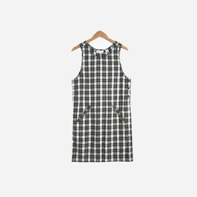 脫臼古著 / 綠格紋雙口袋背心洋裝 no.594A1  vintage
