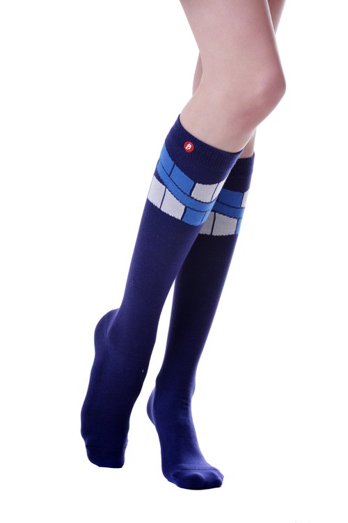 Hong Kong Design | Fool's Day knit knee socks -The Flag Purple KH- 00238.