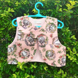 Rabbit in a wreath (pink) / limited edition baby vest. Outer vest. Mi Yue gift