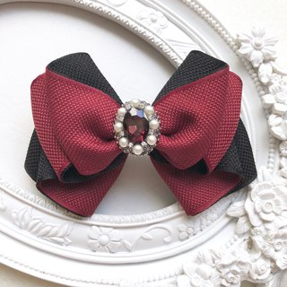 Elegant lady spring hair clip / dark red + black