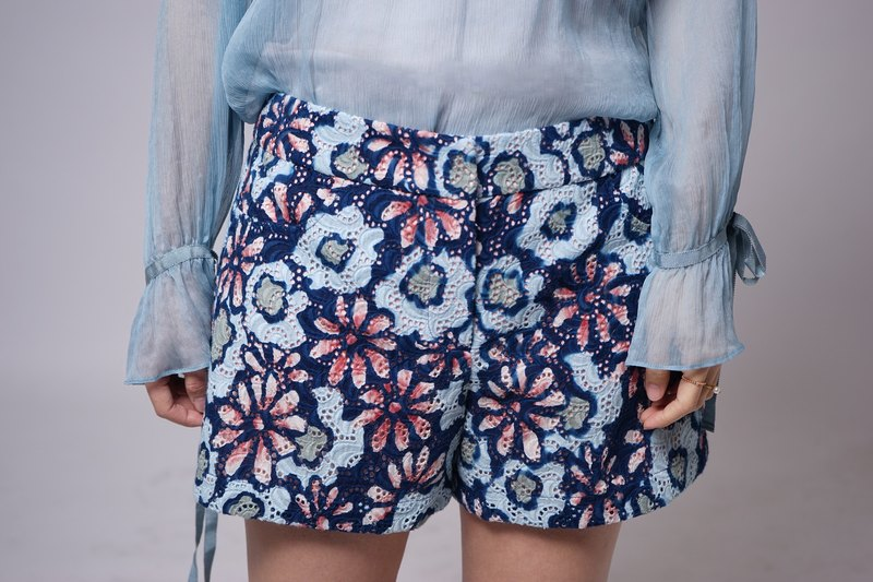 Lace Custom Series - Blue Pink Flower Lace Shorts
