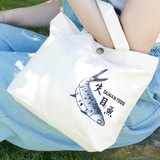 刺繡帆布手提袋-[台南小吃系列-失目魚] 手提袋/帆布袋/便當袋~文藝輕黏
