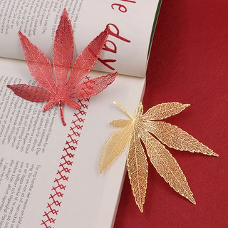 Hand Heart Design Metal Brass Maple Leaf Bookmark Two Large Pieces Imported Grouped Paper Folding