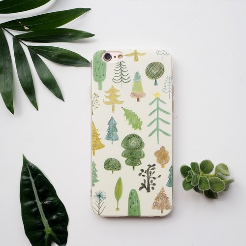 Forest tree fresh/plant all-inclusive drop soft shell protector/illustrator design original mobile phone shell/iphone7/customizable/iphonex