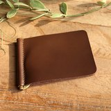 Money Clip - My - Brown / Wallet / Leather Wallet / Small Wallet / Short Wallet / Personalized / Eng..