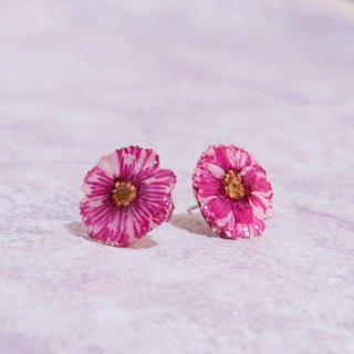 Water out of hibiscus, dried flower stainless steel earrings