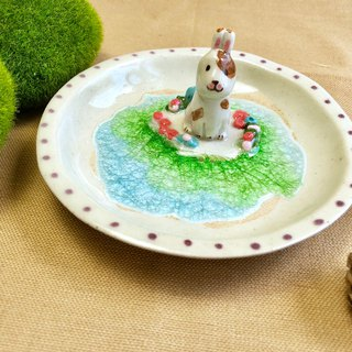 Jumping Bunny-Handmake Ceramic and glass Jewellery plate
