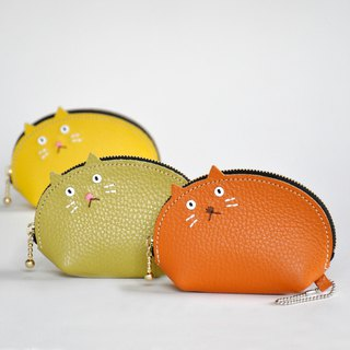 Cute size cat pouch Orange Brown or Green