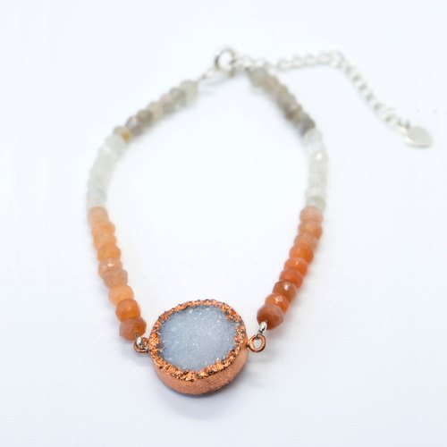 Moon Cycle druzy crystal and moonstone bracelet