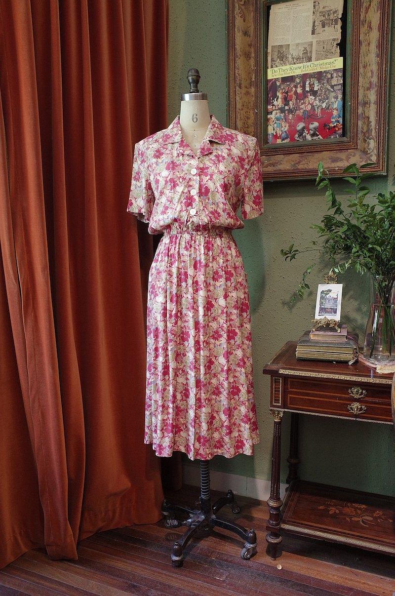 vintage dress美國制翻領印花連衣裙古著洋裝