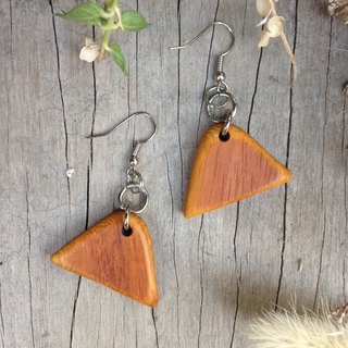 Huangshan】 【original wood earrings lacquer coating handmade 朲 envy wood can be changed ear clip
