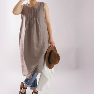 wafu  linen A-line dress / sleeveless / midi length / special tacks / a28-38