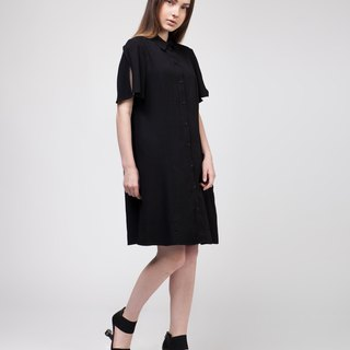 Black Side Pocket Shirt Dress