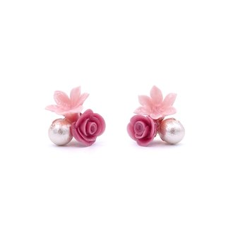Pamycarie ROSY ROSIE Valentines limited edition rose pearl 925 sterling silver earrings