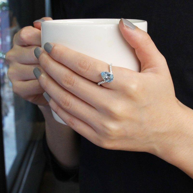天然海藍寶14K鑽石戒指 天然彩色寶石鑽戒 訂婚戒 客製化珠寶